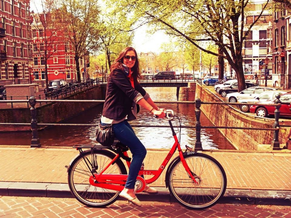 Bike riding in Amsterdam.