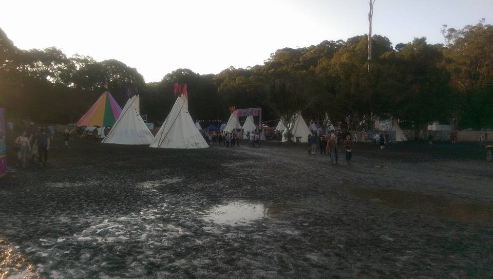 Teepees in the mud - Splendour 2015