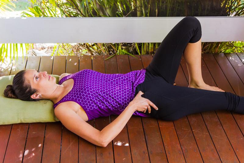 Iliacus – lying on floor with hip flexed