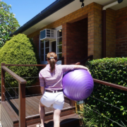 Britt at barefoot with physio ball